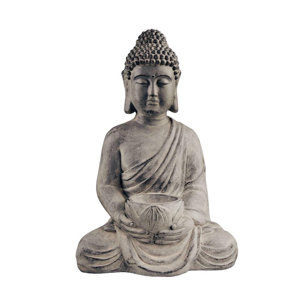 BUDDHA Socha sedícího Budhy s táckem na svíčku