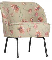 Hoorns Béžové sametové křeslo Tergi s květinovým vzorem - tip